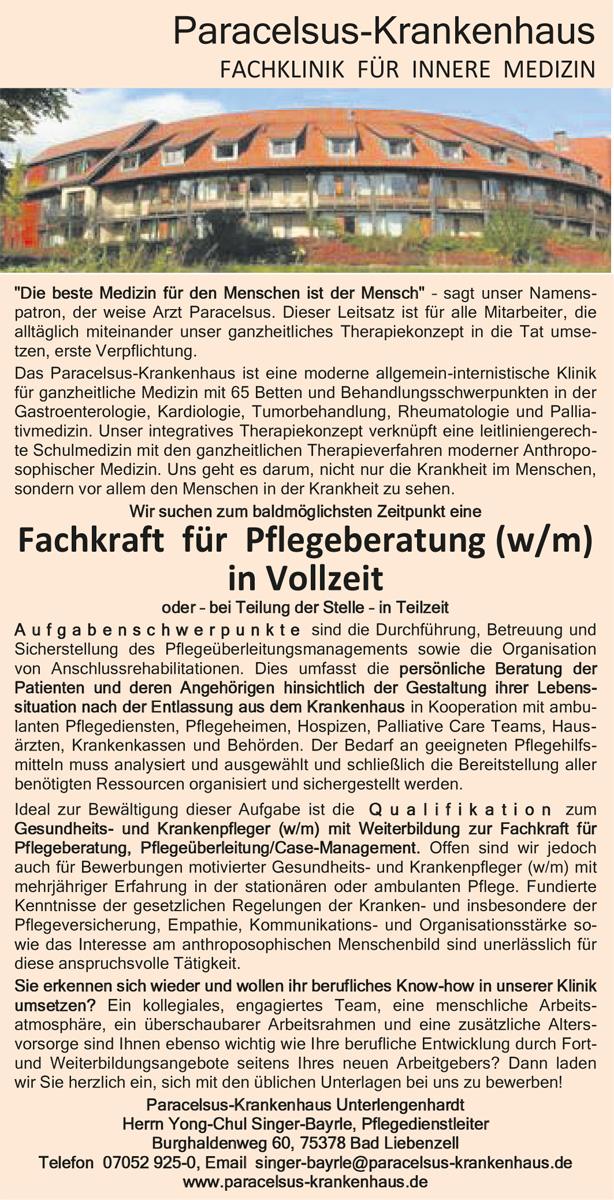 Stellenausschreibung - Paracelsus-Krankenhaus, Bad Liebenzell